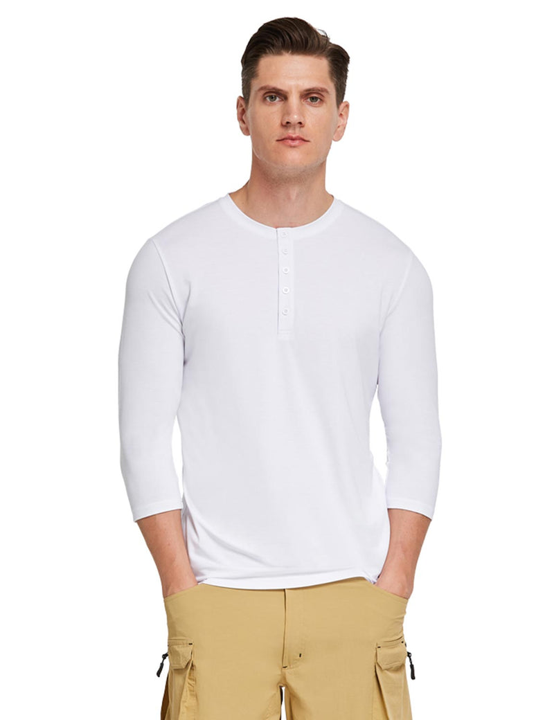 Baleaf Mens Crew Neck Slim Fit Quick Dry Pocketed 3/4 Sleeve Workout Henley Shirt White  Front