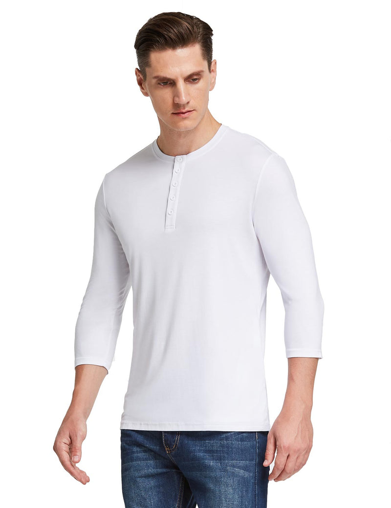 Baleaf Mens Crew Neck Slim Fit Quick Dry Pocketed 3/4 Sleeve Workout Henley Shirt White Side
