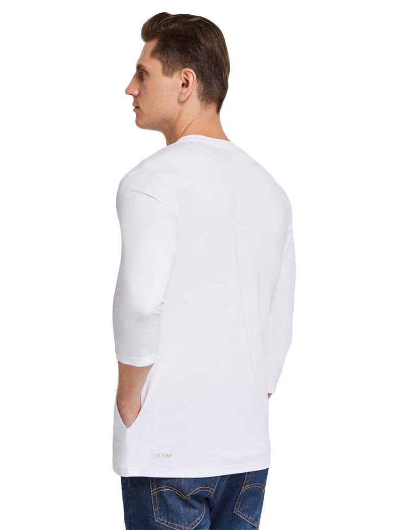 Baleaf Mens Crew Neck Slim Fit Quick Dry Pocketed 3/4 Sleeve Workout Henley Shirt White Back