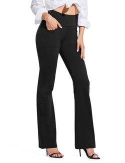 Baleaf Women High Rise Customizable Pocketed Bootcut Yoga Pants Black Front