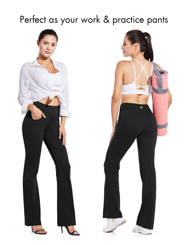 Baleaf Women High Rise Customizable Pocketed Bootcut Yoga Pants Black Occasion