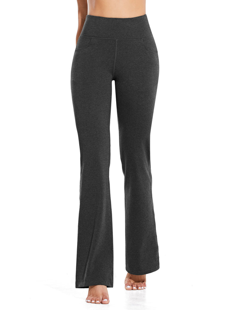 Baleaf Women High Rise Customizable Pocketed Bootcut Yoga Pants Deep Gray Front
