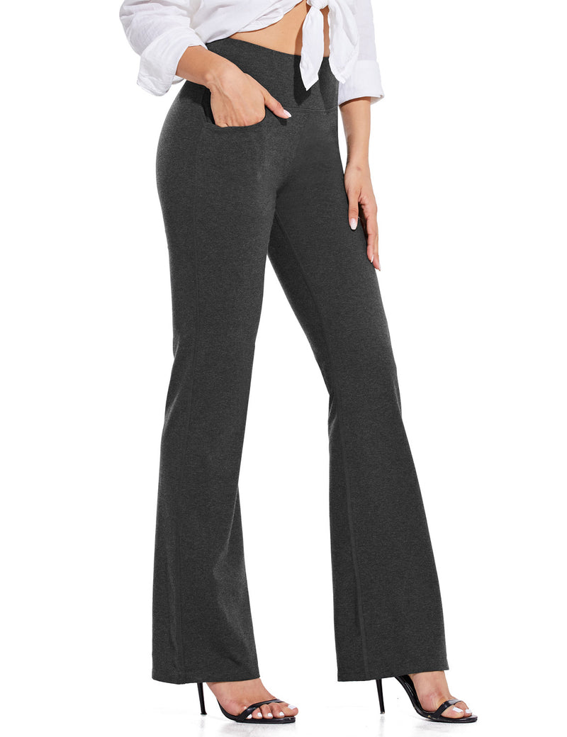 Baleaf Women High Rise Customizable Pocketed Bootcut Yoga Pants Deep Gray Side
