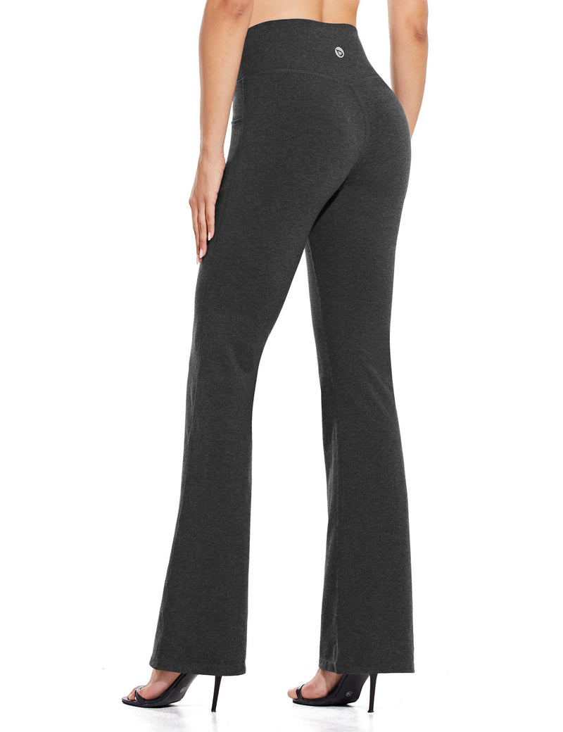 Baleaf Women High Rise Customizable Pocketed Bootcut Yoga Pants Deep Gray Back