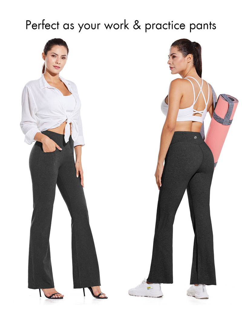Baleaf Women High Rise Customizable Pocketed Bootcut Yoga Pants Gray Occasion