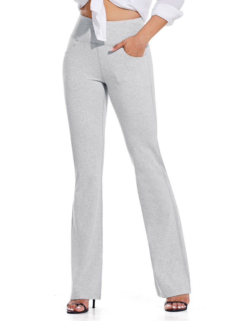 Baleaf Women High Rise Customizable Pocketed Bootcut Yoga Pants Light Gray Front