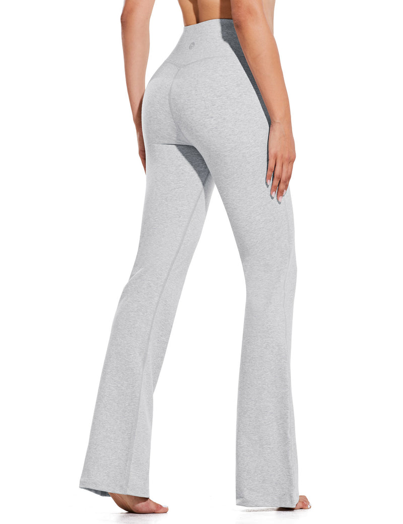 Baleaf Women High Rise Customizable Pocketed Bootcut Yoga Pants Light Gray Back