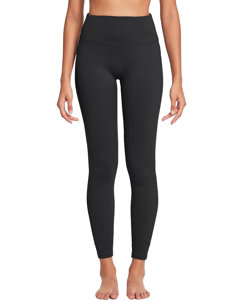 Baleaf Womens 28'' Non-see-through High Rise Pocketed Workout Leggings w Hidden Drawstring Black Front