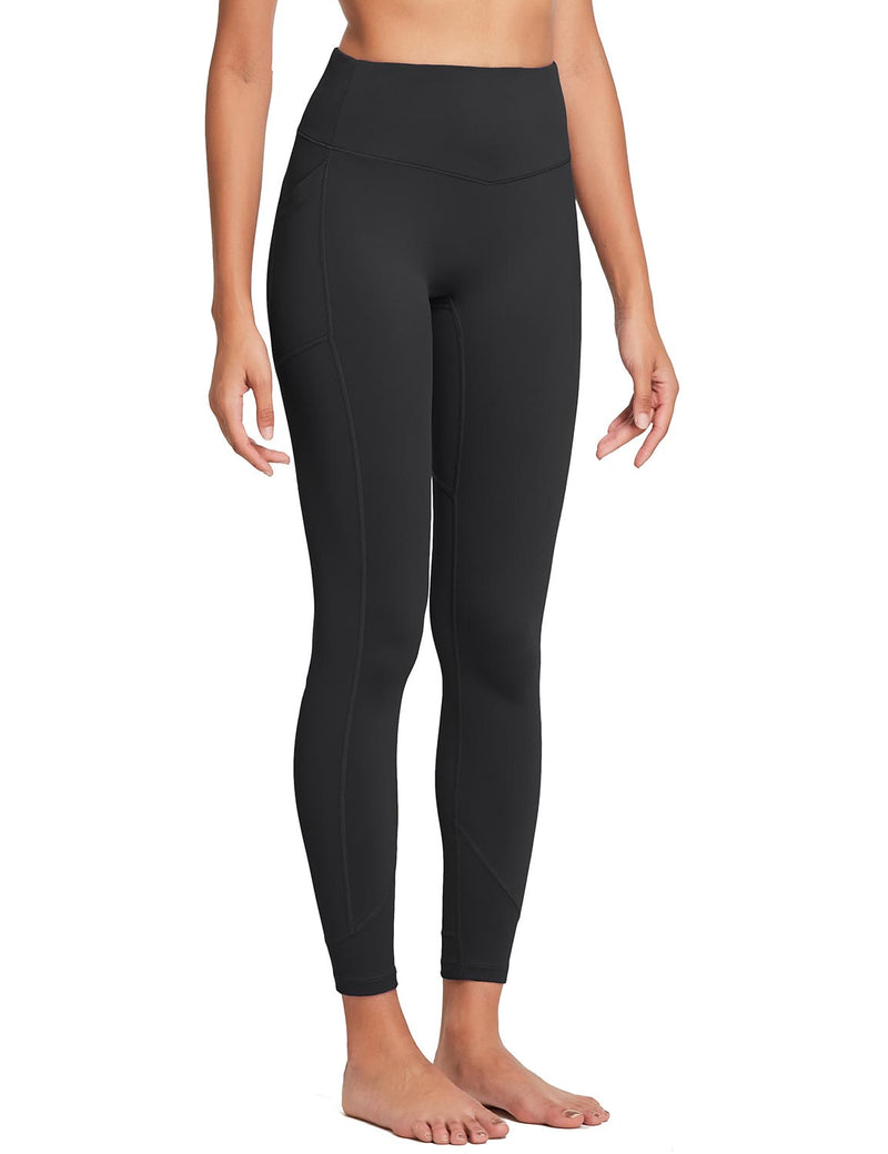 Baleaf Womens 28'' Non-see-through High Rise Pocketed Workout Leggings w Hidden Drawstring Black Side