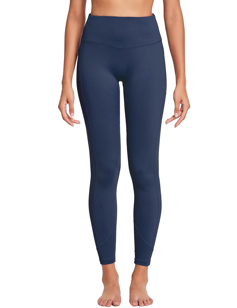 Baleaf Womens 28'' Non-see-through High Rise Pocketed Workout Leggings w Hidden Drawstring Navy Front