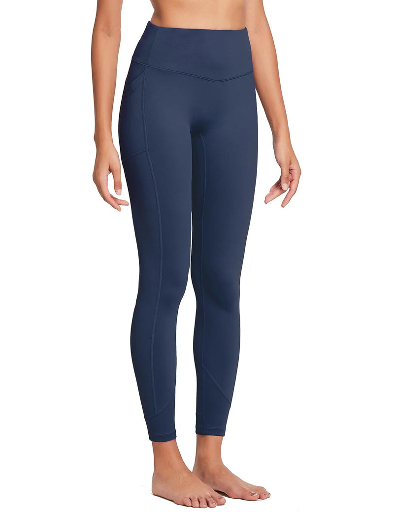 Baleaf Womens 28'' Non-see-through High Rise Pocketed Workout Leggings w Hidden Drawstring Navy Side
