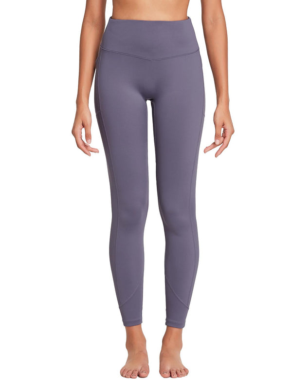 Baleaf Womens 28'' Non-see-through High Rise Pocketed Workout Leggings w Hidden Drawstring Purple Front