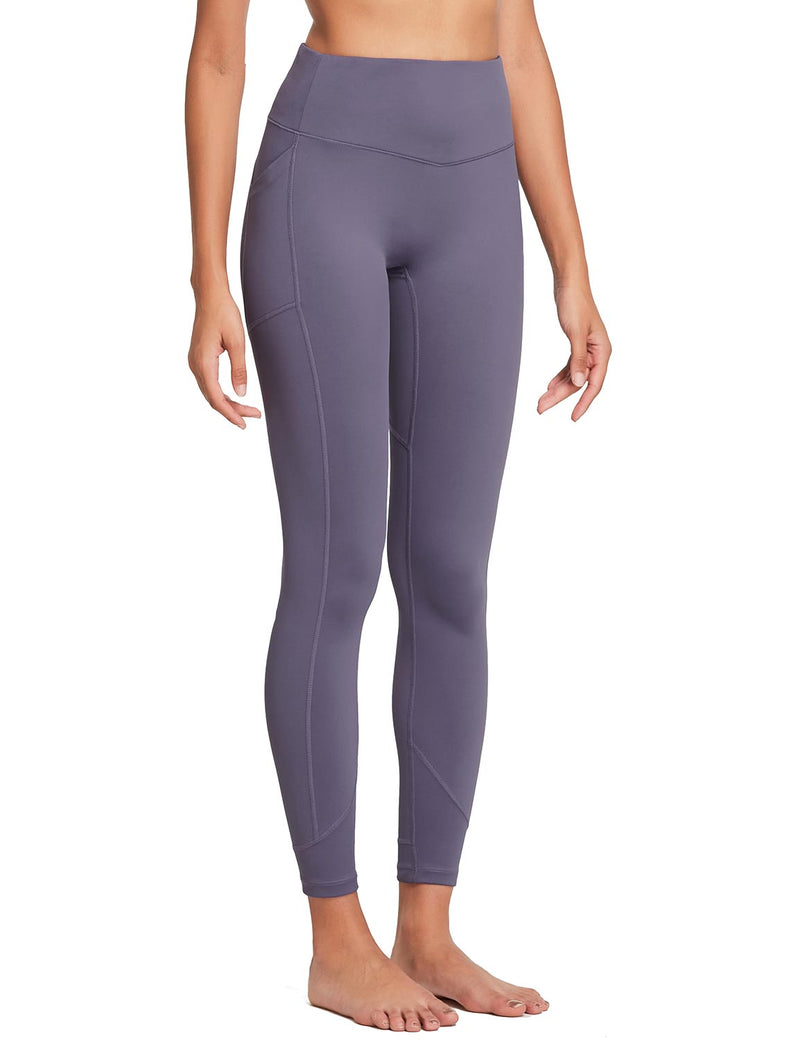 Baleaf Womens 28'' Non-see-through High Rise Pocketed Workout Leggings w Hidden Drawstring Purple Side