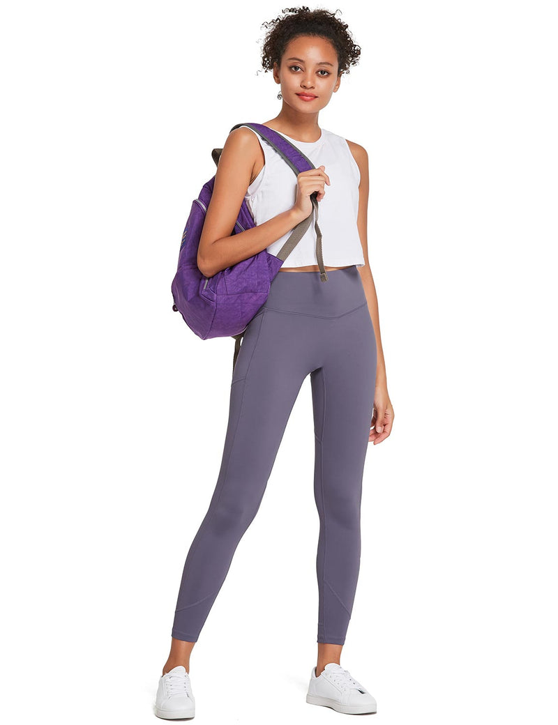 Baleaf Womens 28'' Non-see-through High Rise Pocketed Workout Leggings w Hidden Drawstring Purple Full