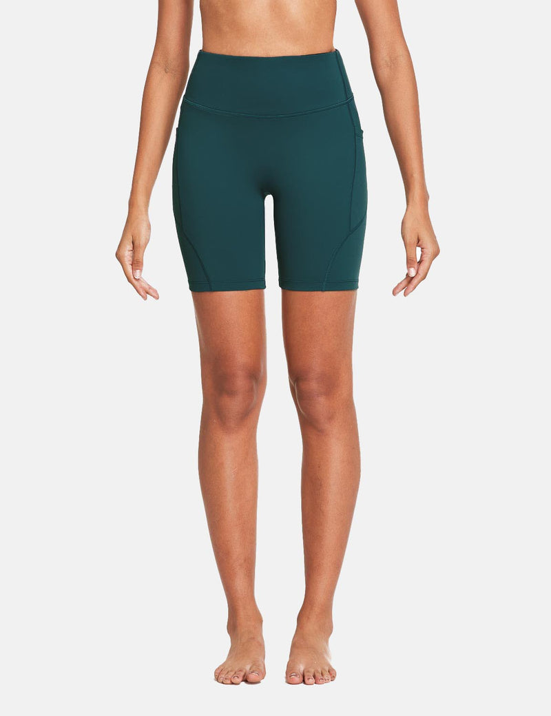 Baleaf Womens 7'' High Rise Non-See-Through Seamless Pocketed Workout Shorts Teal Front