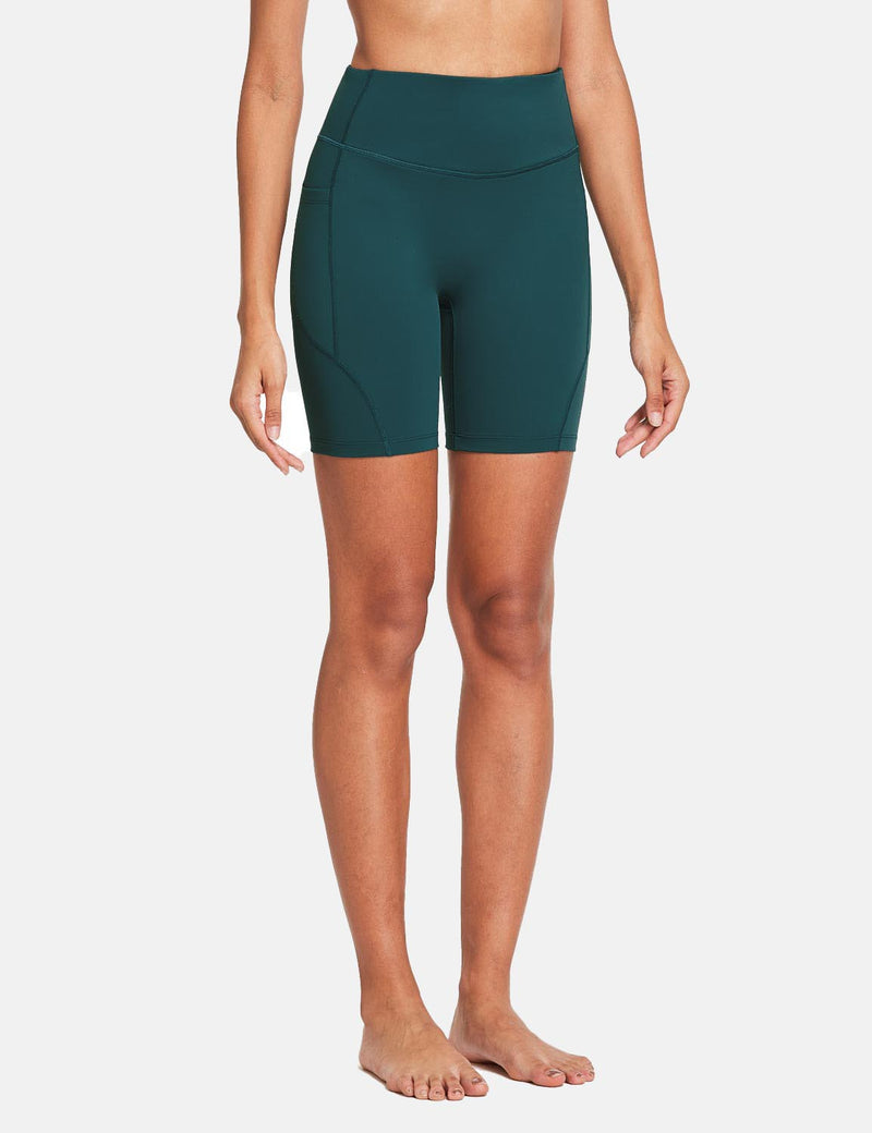 Baleaf Womens 7'' High Rise Non-See-Through Seamless Pocketed Workout Shorts Teal Side