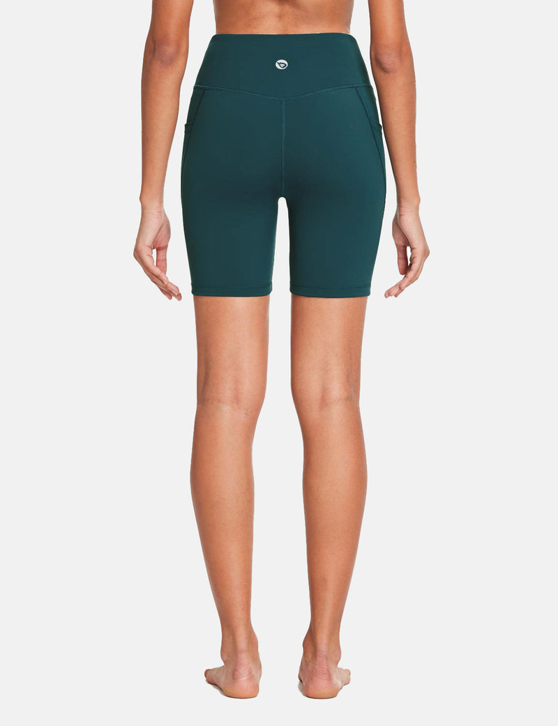 Baleaf Womens 7'' High Rise Non-See-Through Seamless Pocketed Workout Shorts Teal Back