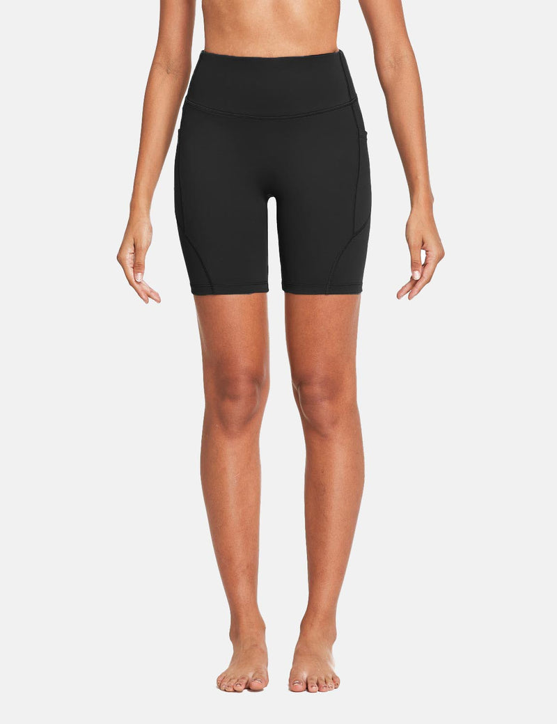 Baleaf Womens 7'' High Rise Non-See-Through Seamless Pocketed Workout Shorts Black Front