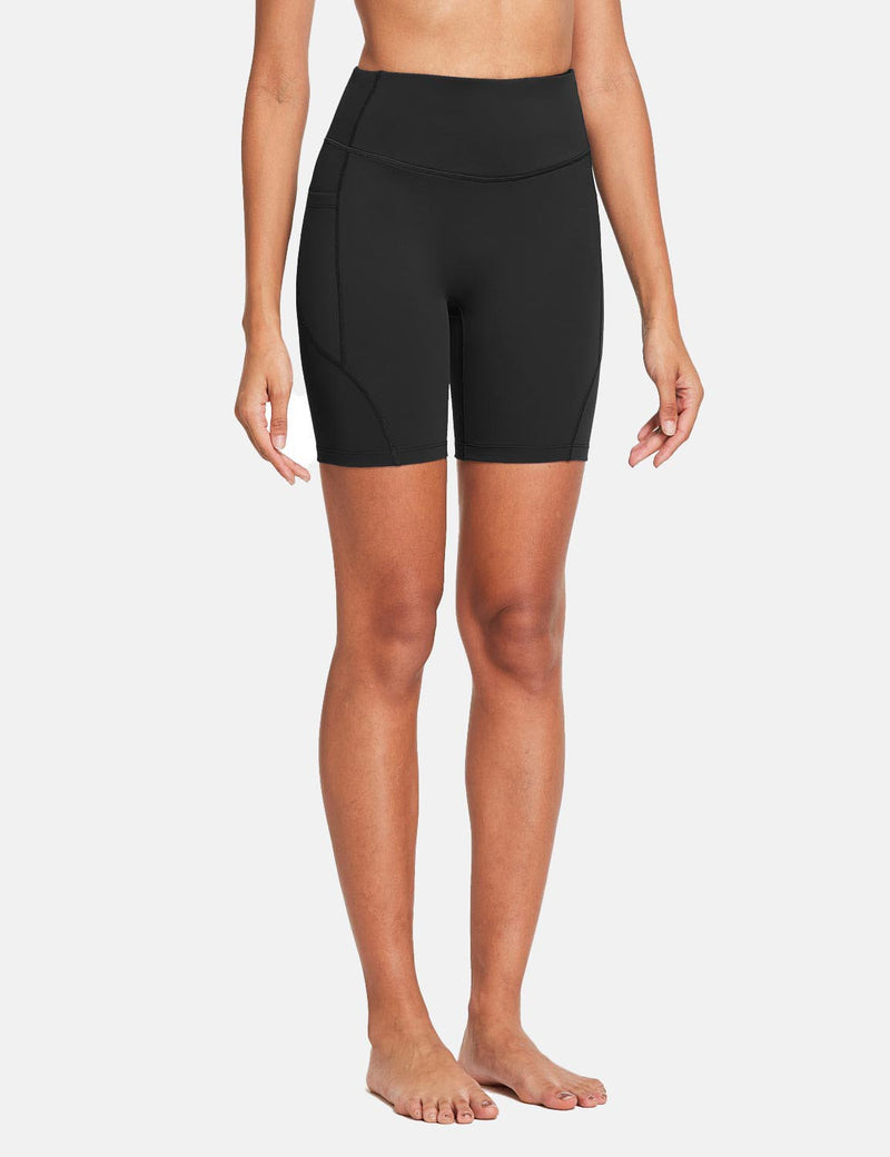 Baleaf Womens 7'' High Rise Non-See-Through Seamless Pocketed Workout Shorts Black Side