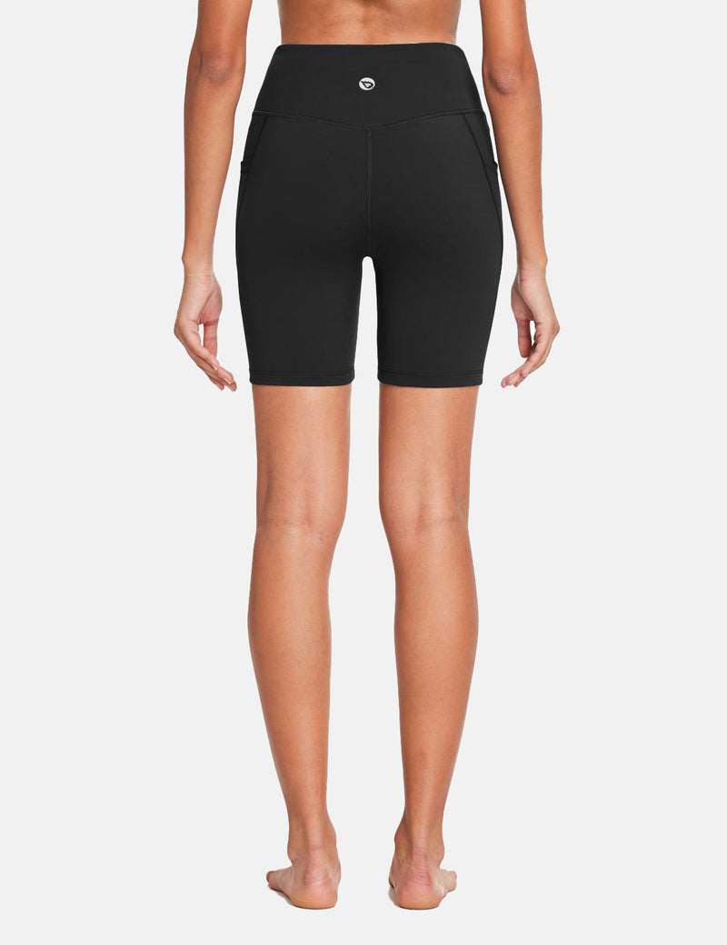 Baleaf Womens 7'' High Rise Non-See-Through Seamless Pocketed Workout Shorts Black Back