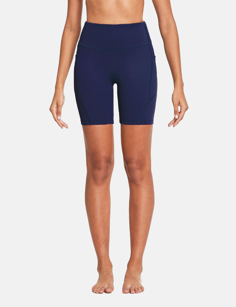Baleaf Womens 7'' High Rise Non-See-Through Seamless Pocketed Workout Shorts Navy Front