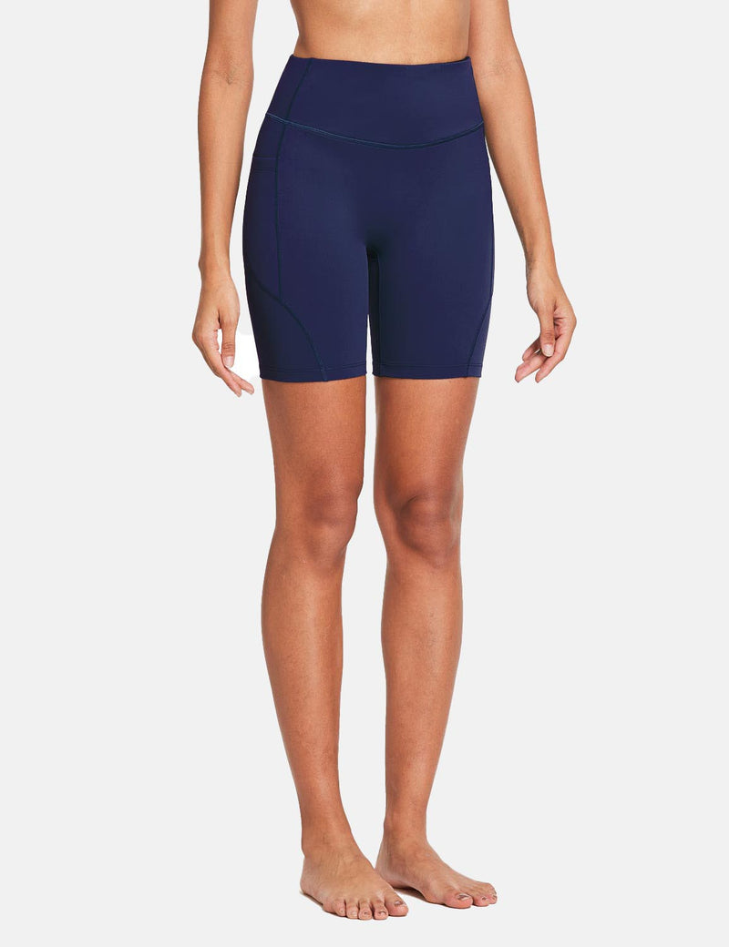 Baleaf Womens 7'' High Rise Non-See-Through Seamless Pocketed Workout Shorts Navy Side