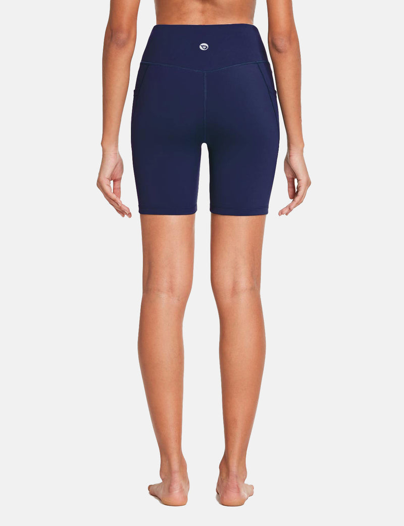 Baleaf Womens 7'' High Rise Non-See-Through Seamless Pocketed Workout Shorts Navy Back