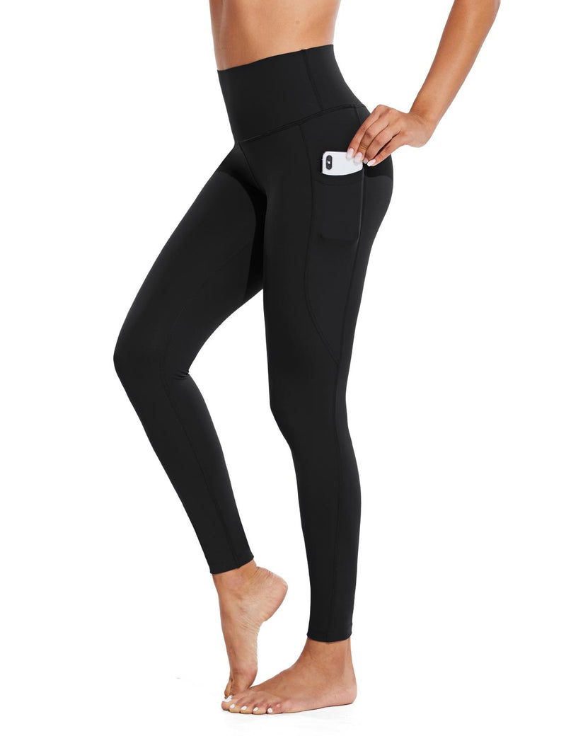 Baleaf Womens High Rise Tummy Control Butt Lifting Pocketed Workout Leggings Black Side