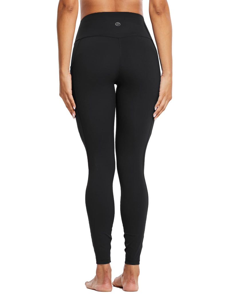 Baleaf Womens High Rise Tummy Control Butt Lifting Pocketed Workout Leggings Black Back