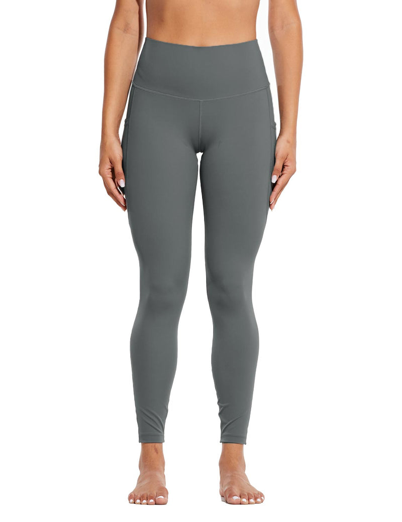 Baleaf Womens High Rise Tummy Control Butt Lifting Pocketed Workout Leggings Gray Front