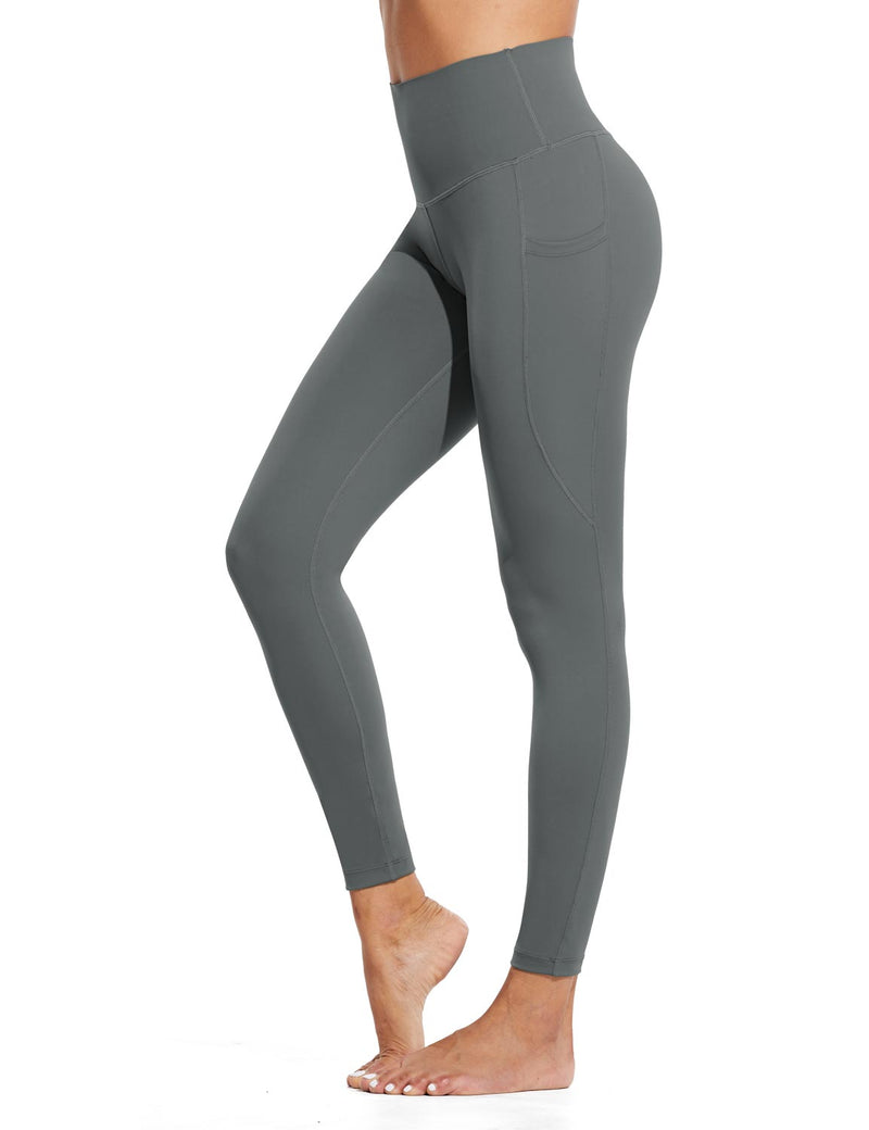 Baleaf Womens High Rise Tummy Control Butt Lifting Pocketed Workout Leggings Gray Side