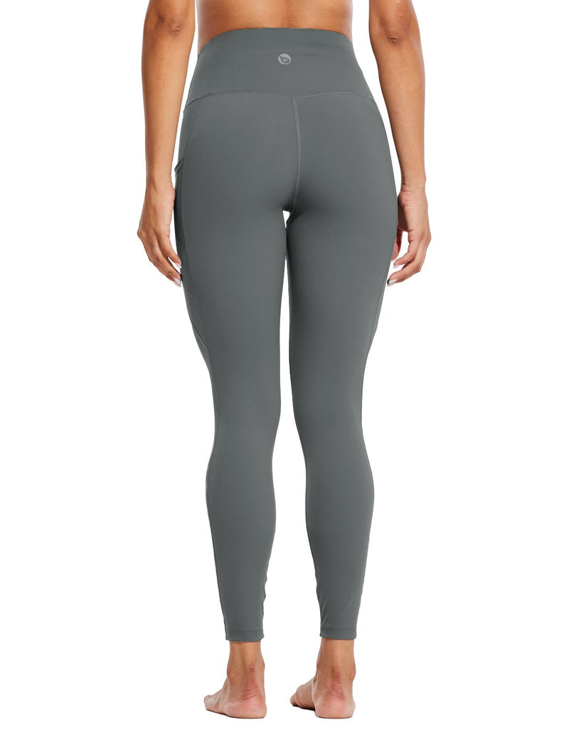 Baleaf Womens High Rise Tummy Control Butt Lifting Pocketed Workout Leggings Gray Back
