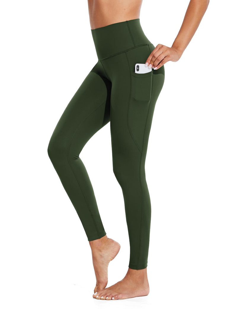 Baleaf Womens High Rise Tummy Control Butt Lifting Pocketed Workout Leggings Green Side