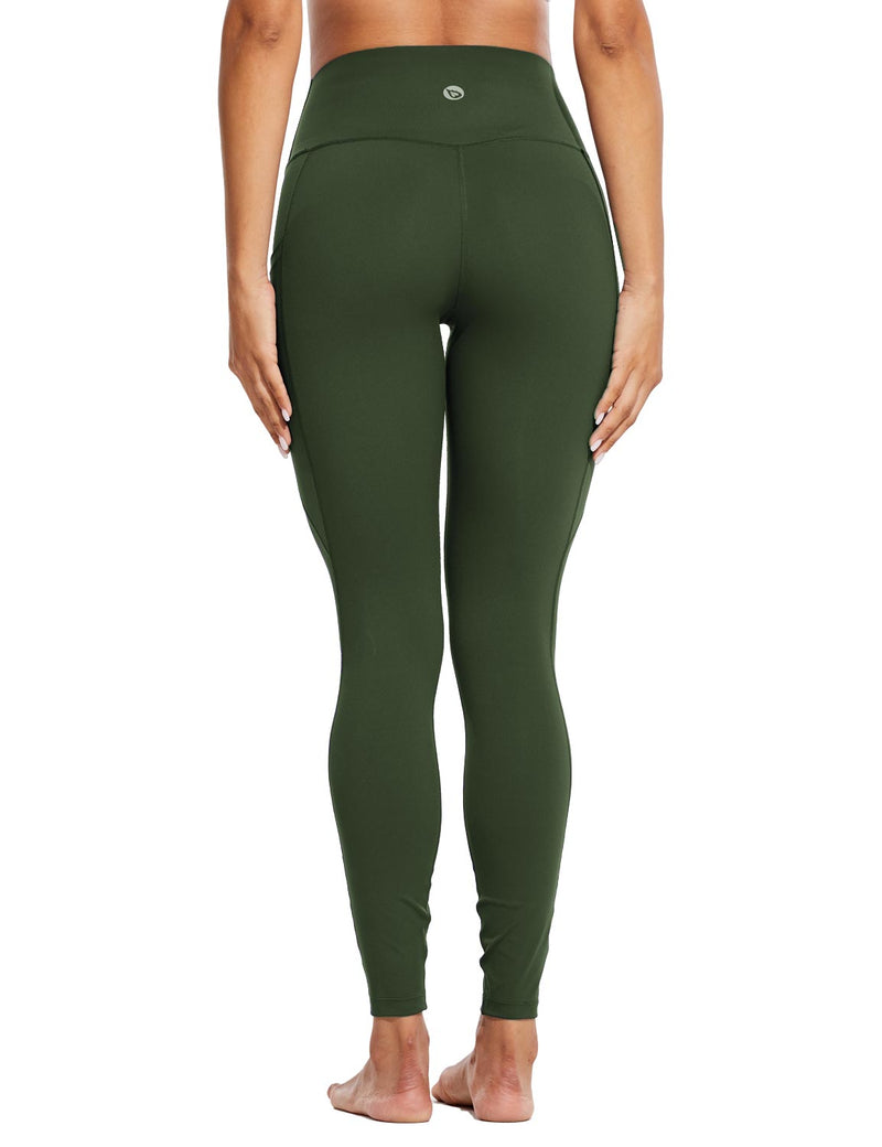 Baleaf Womens High Rise Tummy Control Butt Lifting Pocketed Workout Leggings Green Back