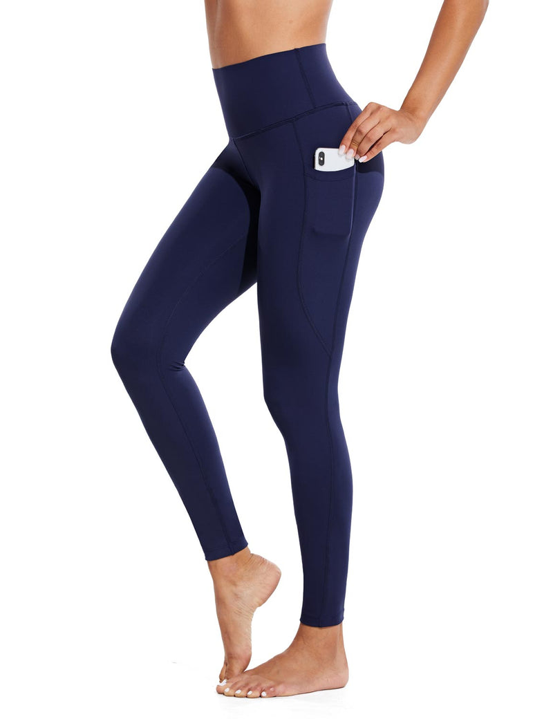 Baleaf Womens High Rise Tummy Control Butt Lifting Pocketed Workout Leggings Navy Side