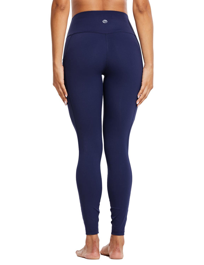 Baleaf Womens High Rise Tummy Control Butt Lifting Pocketed Workout Leggings Navy Back