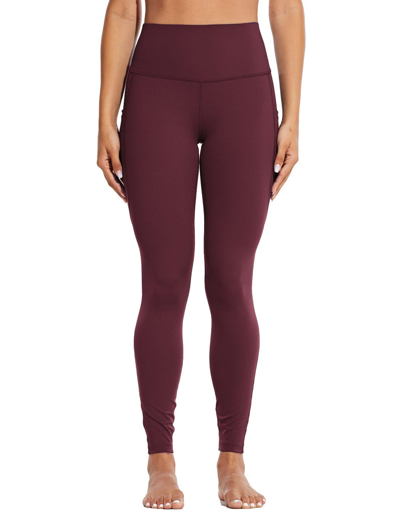 Baleaf Womens High Rise Tummy Control Butt Lifting Pocketed Workout Leggings Wine Red Front