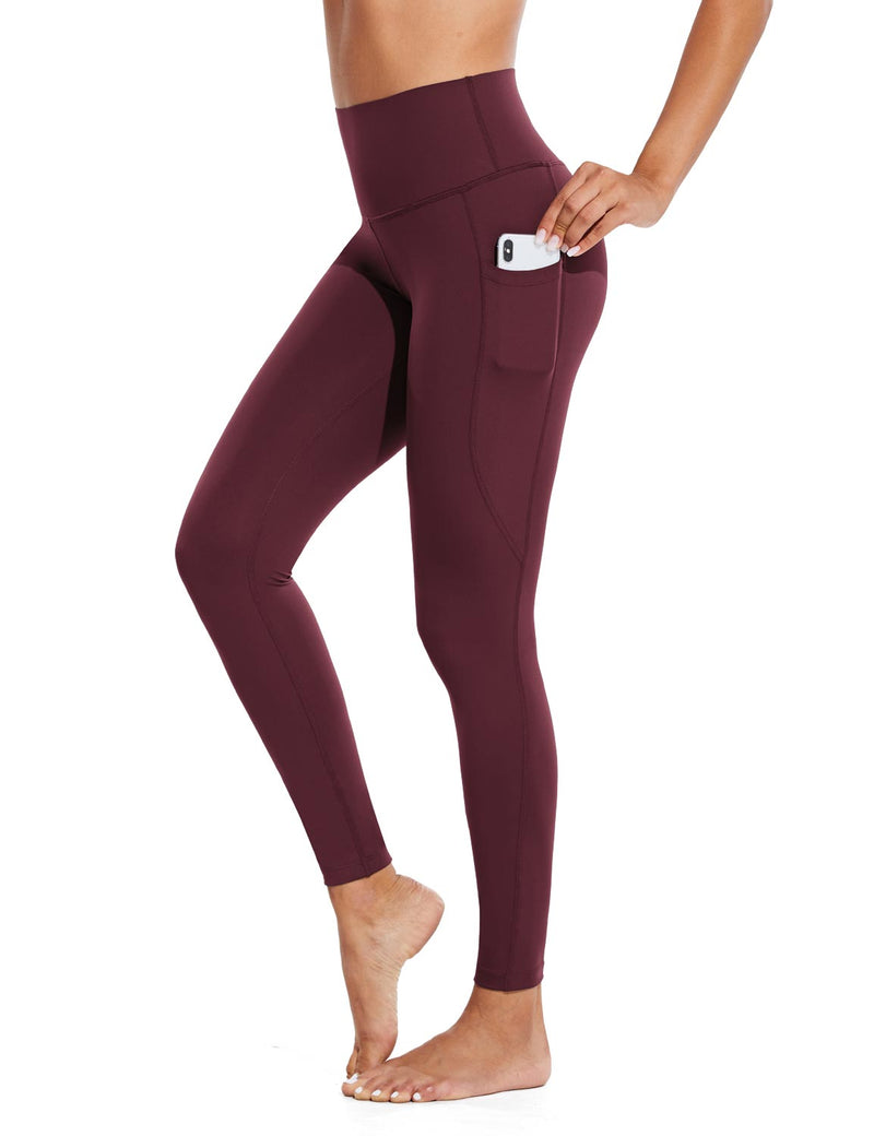 Baleaf Womens High Rise Tummy Control Butt Lifting Pocketed Workout Leggings Wine Red Side