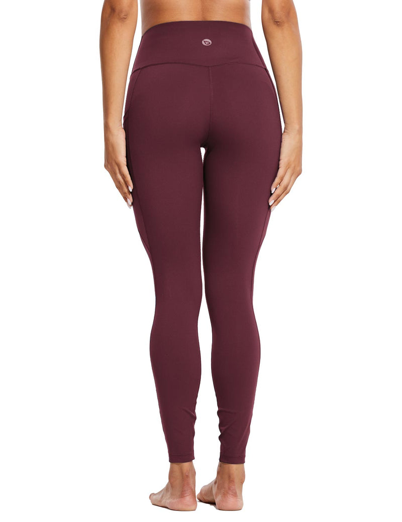 Baleaf Womens High Rise Tummy Control Butt Lifting Pocketed Workout Leggings Wine Red Back