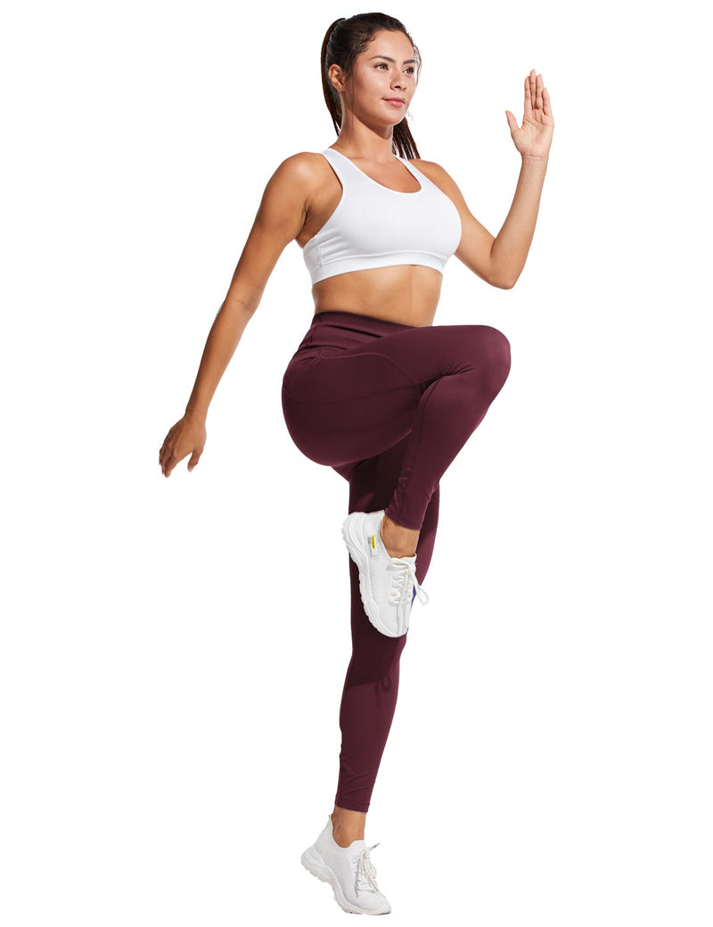 Baleaf Womens High Rise Tummy Control Butt Lifting Pocketed Workout Leggings Wine Red Full