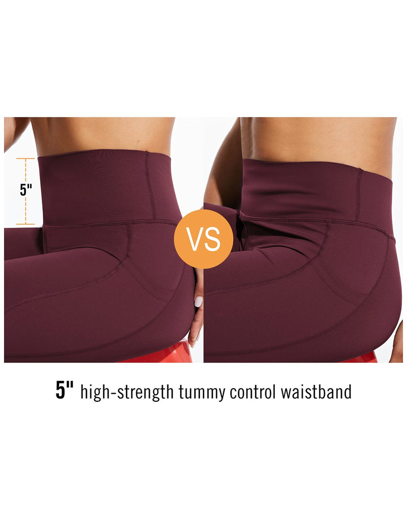 Baleaf Womens High Rise Tummy Control Butt Lifting Pocketed Workout Leggings Wine Red Details