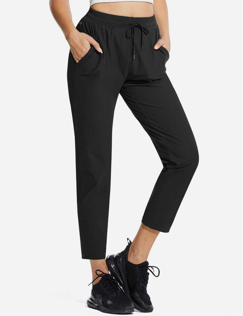 Baleaf Womens High Rise Quick Dry Ankle Length Tapered Joggers w Pockets Black Side