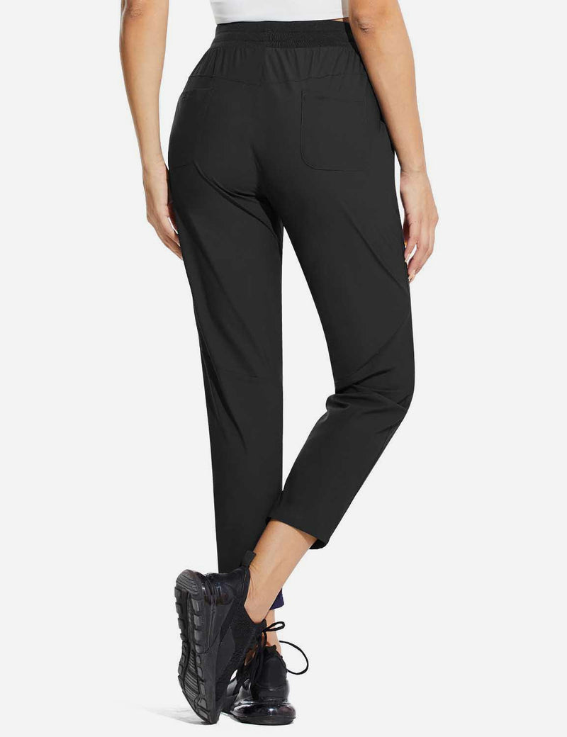 Baleaf Womens High Rise Quick Dry Ankle Length Tapered Joggers w Pockets Black Back