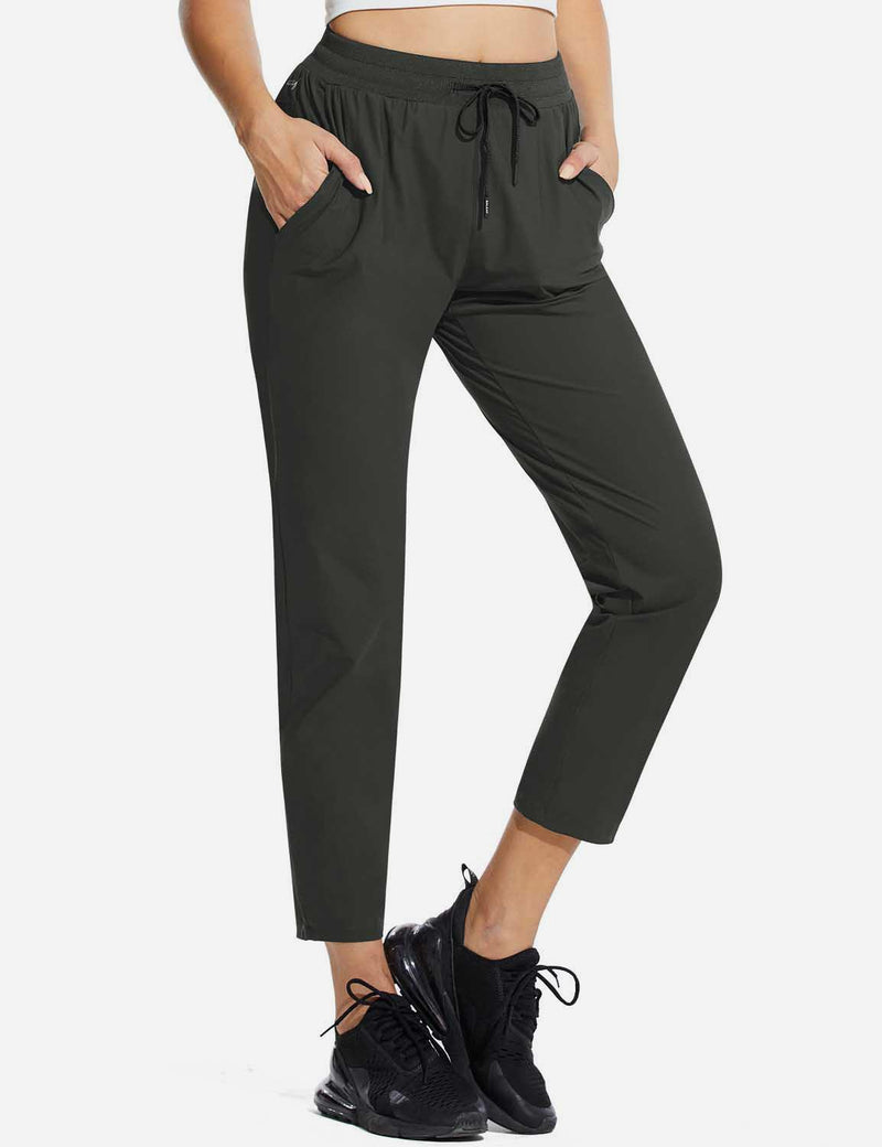 Baleaf Womens High Rise Quick Dry Ankle Length Tapered Joggers w Pockets Dark Gray Side