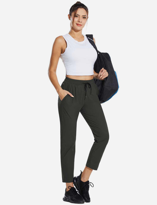 Baleaf Womens High Rise Quick Dry Ankle Length Tapered Joggers w Pockets Dark Gray Full