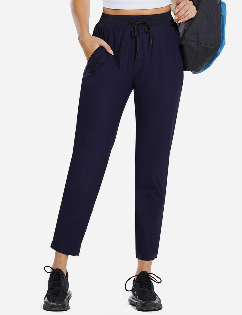 Baleaf Womens High Rise Quick Dry Ankle Length Tapered Joggers w Pockets Blue Front