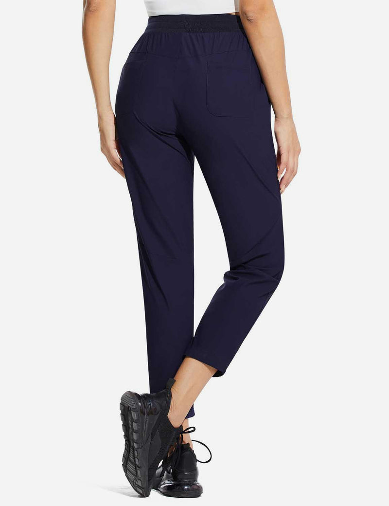 Baleaf Womens High Rise Quick Dry Ankle Length Tapered Joggers w Pockets Blue Back