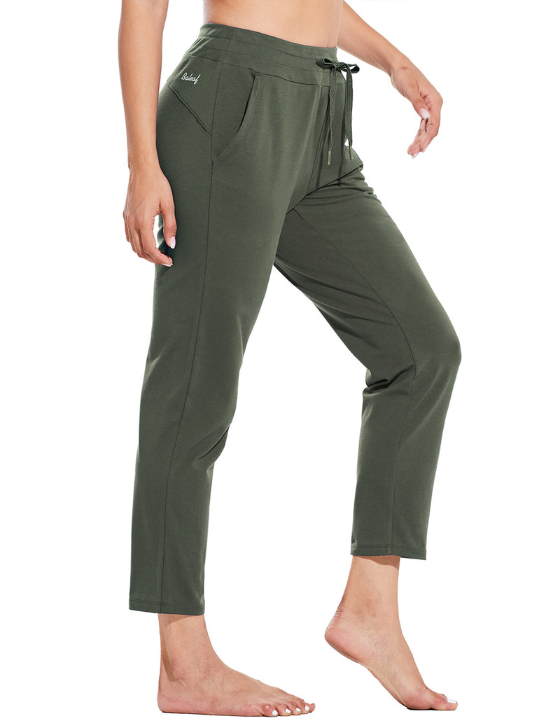 Baleaf Womens Mid Rise Casual Tapered Capris w Side Pockets Army Green Side