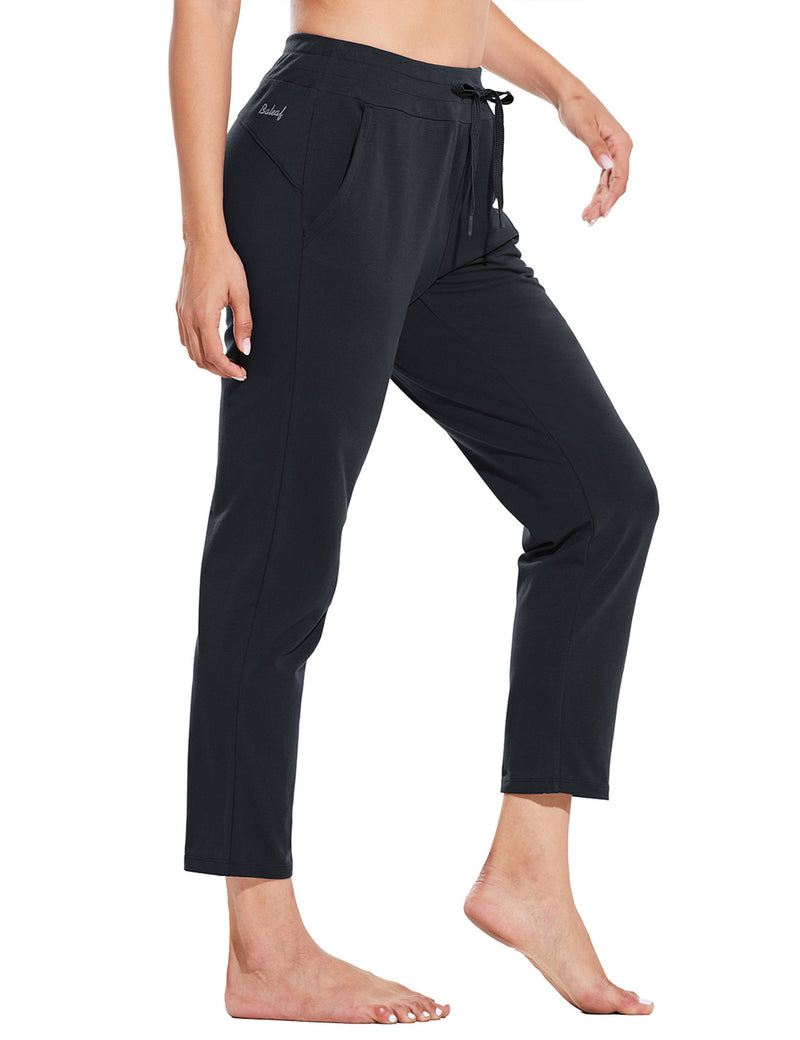 Baleaf Womens Mid Rise Casual Tapered Capris w Side Pockets Black Side