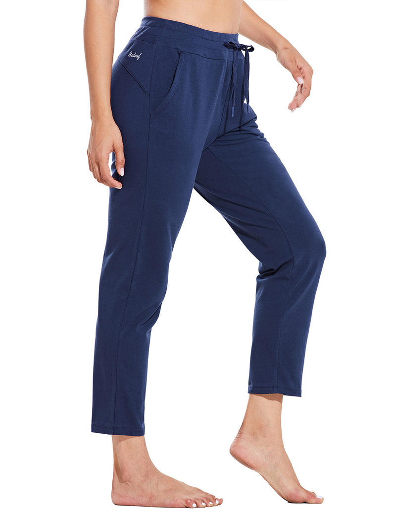 Baleaf Womens Mid Rise Casual Tapered Capris w Side Pockets Navy Side